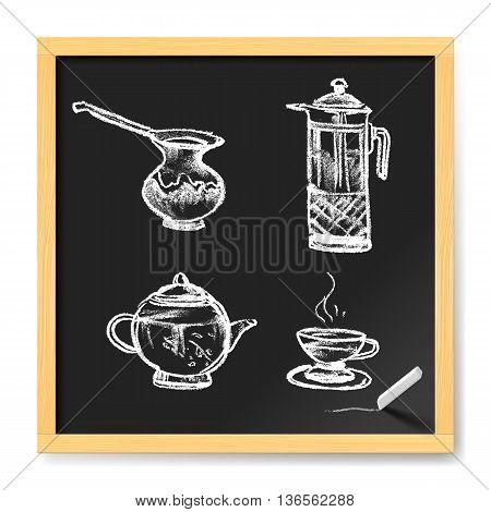 Tea and Coffee Doodle on Chalkboard. Hand Drawn illustration