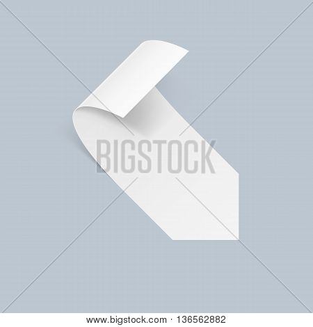Illustration of White Sticker with Bended Coner on Blue