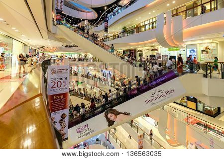 Bangkok Thailand - June 5 2016: CentralPlaza Rama 9 the most recent addition of CentralPlaza brand in Bangkok sits amidst the bustling intersection of Rama9.