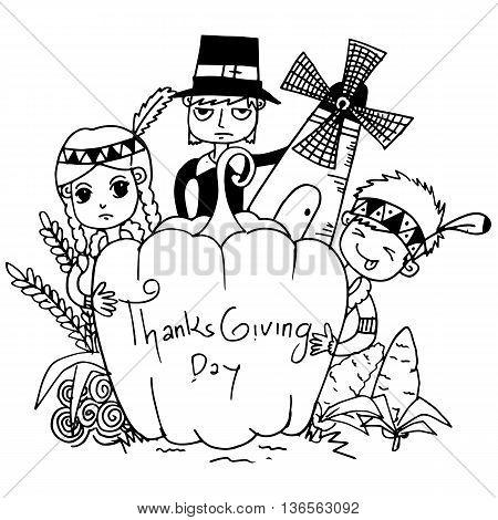 Sketch doodle Thanksgiving icon set vector art