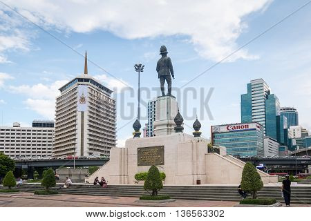 Bangkok Thailand - June 10 2016: The monument of king RAMA VI in front of Lumpini park in a center of business district in Bangkok Bangkok sky-scape Bangkok city-scape Bangkok Thailand.