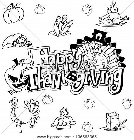 Doodle art happy thanksgiving with hand draw