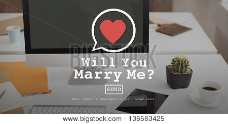 Will You Marry Me Valentine Romance Love Heart Dating Concept