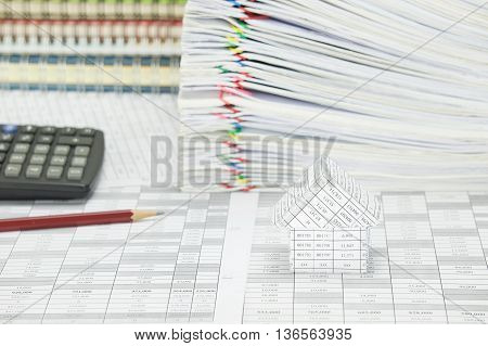 House Have Blur Stack Paperwork And Notebook As Background