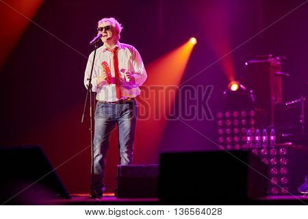 MOSCOW, RUSSIA - APR 24, 2015: Drummer and percussionist of band A.Murashov in concert on stage of Crocus city hall at Secret band show. Rock and roll band Secret founded in 1982 in Leningrad.