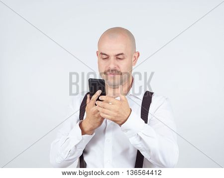 Man Reading Sms On Your Smartphone.
