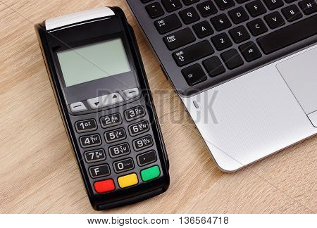 Credit Card Reader For Paying And Laptop, Finance Concept