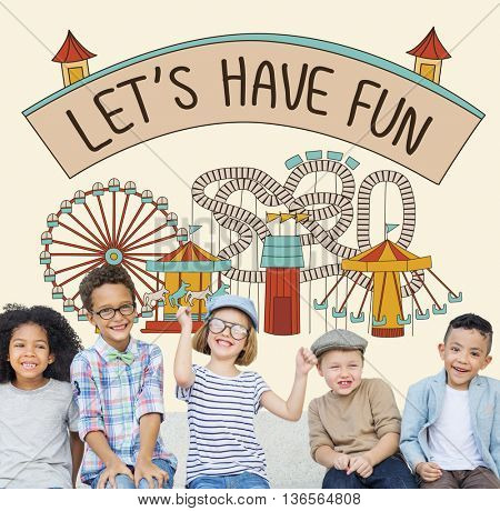 Let's Have Fun Children Kids Graphic Concept