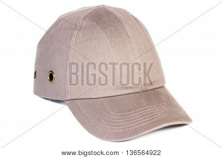 Beige Baseball Cap On White Background, Protection From Sun