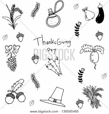 Doodle vegetable element thanksgiving with hand draw