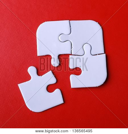 Missing jigsaw puzzle piece white color business concept for completing the final puzzle piece