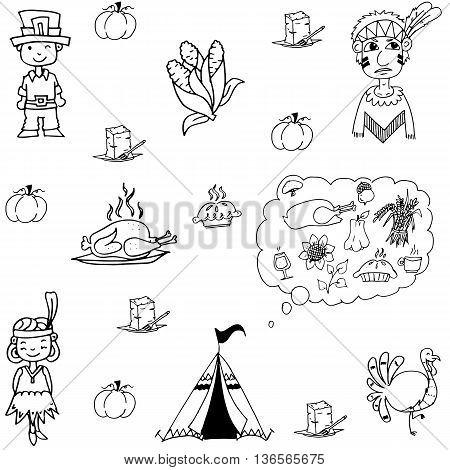 Thanksgiving doodle set flat vector art illustration