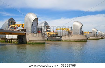 London, UK - May 4, 2015: London barrier on the River Thames view