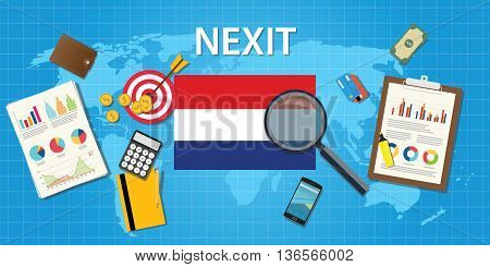 nexit netherland exit from europe organization vector graphic illustration