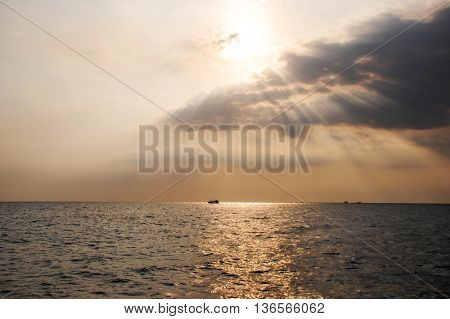 Afternoon sun on Phu Quoc sea, Vietnam.