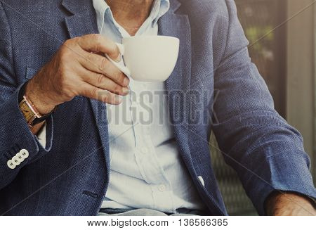 Elderly Drinking Coffee Relax Lifestyle Concept
