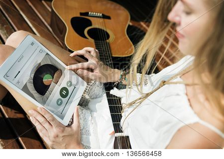 Woman Guitar Instrument Music Activity Concept