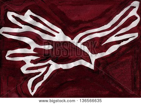 Hand drawn religious illustration or drawing of a dove representing the Holy Spirit religious symbol