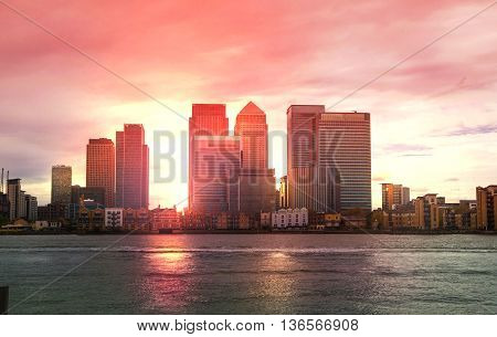 London, UK - May 18, 2015: Canary Wharf Office and Banking aria view at sunset, London