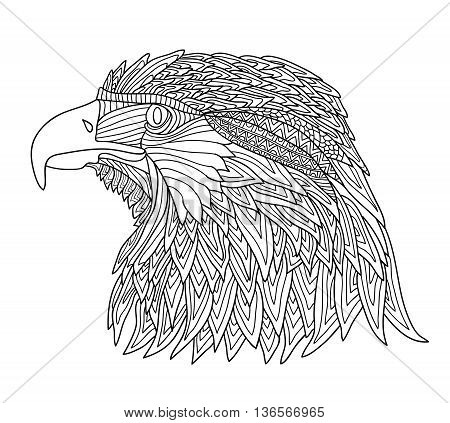 Coloring Book for Adults and children. Brutal eagle with zentangle patterns. Hand-drawn. Black and white illustration. Adult coloring books. Totem of native american