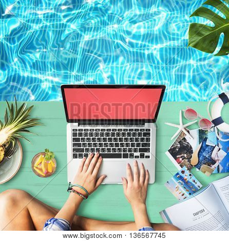 Female Hands Typing Laptop Poolside Concept