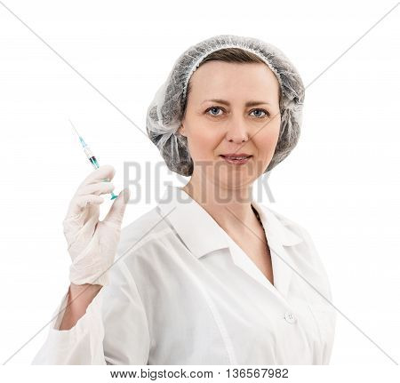 Portrait of serious adult doctor woman holding syringe isolated on white background