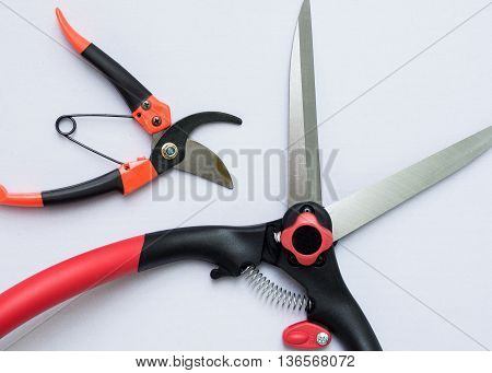 pruning shear and grass shear on white background