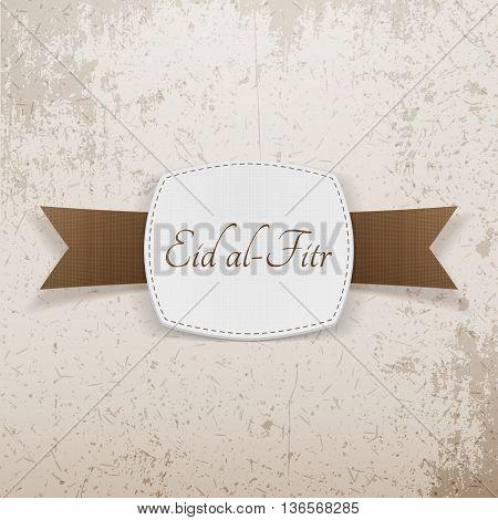 Eid al-Fitr realistic greeting Emblem. Vector Illustration
