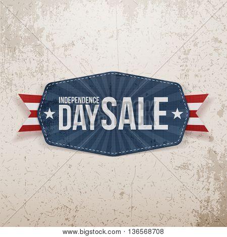 Independence Day Sale paper Emblem. Vector Illustration