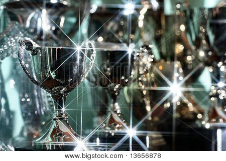 Silver Trophies glisten in the light