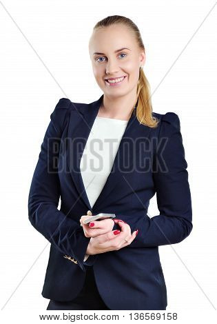 Smilling woman in business style standing on the white background