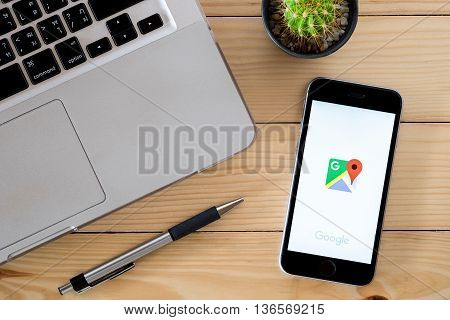 CHIANGMAI THAILAND -JUNE 7 2016:Iphone 6s open Google map app.Google Map is a web mapping service application and technology provided by Google.