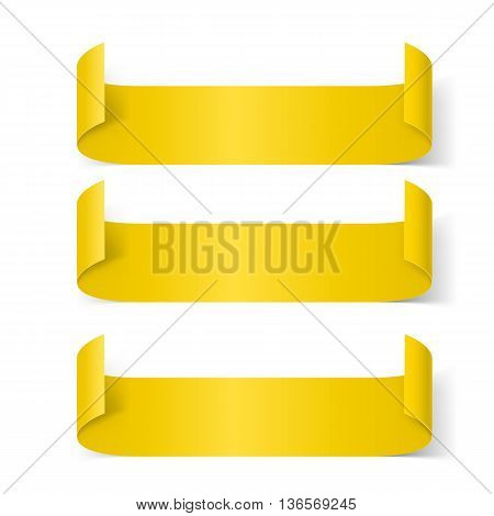 Set of Yellow Paper Stickers Isolated on White Background for Design