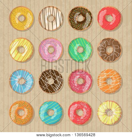 Set of 12 bright tasty vector donuts illustration on the cardboard box background. Doughnut icon in cartoon style for donuts menu in cafe and shop