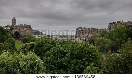 Edinburgh City View As Seen From Waverly Train Station