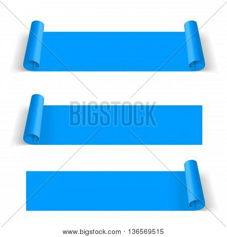 Set of Blue Paper Stickers Isolated on White Background