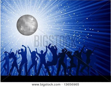 Silhouettes of people dancing on mirror ball background