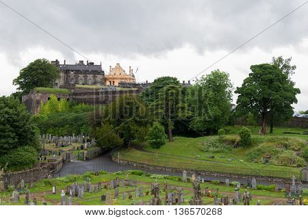 Stirling Castle And Cementery Of Holy Rude Medieval Church