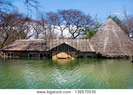 flooded house at Lake Baringo in Kenya