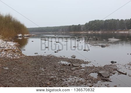 The River with low water level, Krasnoyarsk region