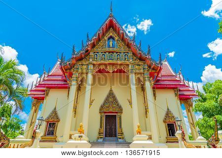The Chapel Of  Wat Pho Chai Temple In Nong Khai, Thailand.
