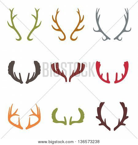 Vector set of vintage deer antlers on white background