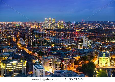 London at night, aerial view with first night lights
