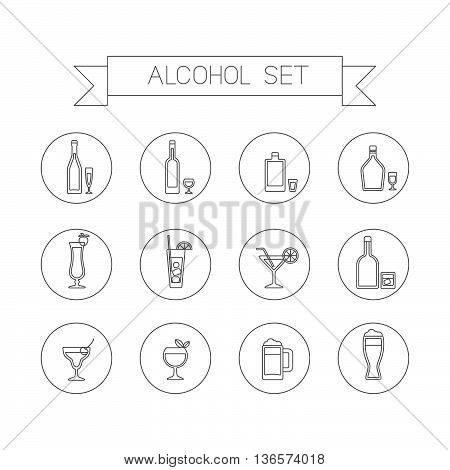 This is flat liner design icons of alcohol topic. It include wine bottle, flask, champagne, cocktail, aperitif, glasses, short, beer. Useful for bar menu, web, print and at you will