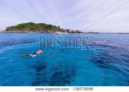 Snorkeling In Turquoise Water Of Andaman Sea At Similan Islands, Thailand