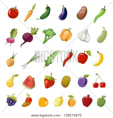 Cartoon fruit and vegetables organic healthy. Vector icons collection of fruit cherry, pomegranate and kiwi. Set of vegetables eggplant, carrot and cucumber illustration