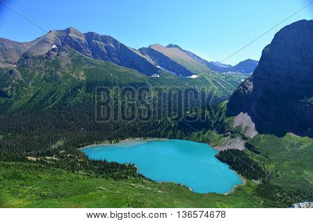 Grinnell Lake In Glacier National Park In Summer