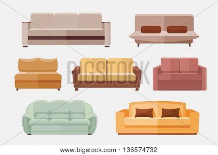 Sofa and couches furniture flat vector icons set. Furniture sofa for home interior. Set of icon sofa for room illustration