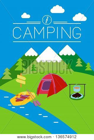 This is set of flat design illustration of camping topic.Moonrise kingdom style.There are tent, fire, kayak, boiler. Use it for web, print, card, advertising or at you will