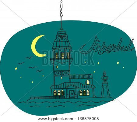This is perfect linear hand drawn style illustration of Lighthouse Bosphorus topic. The most famous landmark. Perfect for web, banners, advertising and at you will.